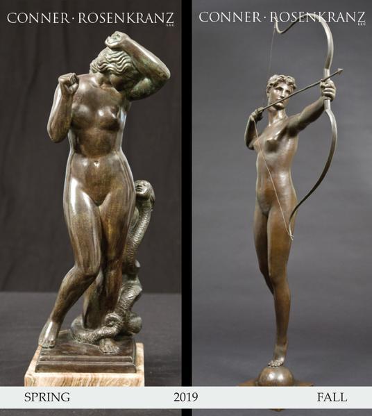 sculptures of Eve in bronze and Diana in bronze