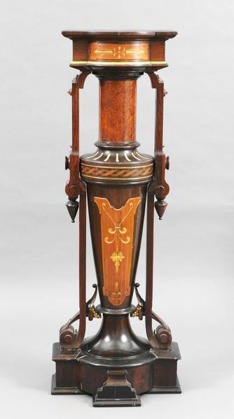 AMERICAN PEDESTAL Rosewood with stain, gilding, an...