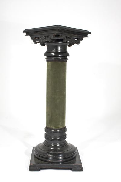 AMERICAN PEDESTAL, c. 1885 Ebonized wood and velve...