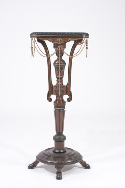 AMERICAN PEDESTAL Gilt and ebonized walnut with br...