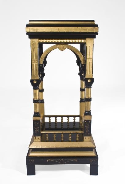 FOUR POST PEDESTAL, c.1850-60 Walnut, ebonized and...