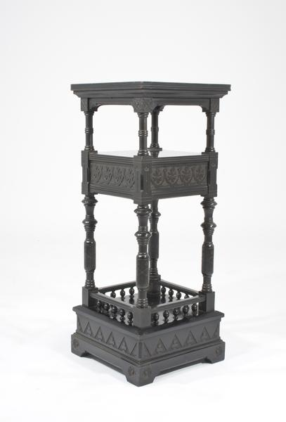 AMERICAN PEDESTAL, c. 1875 Ebonized wood 34 3/8 x...