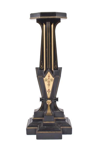 AMERICAN PEDESTAL, c. 1870 Ebonized wood, polychro...
