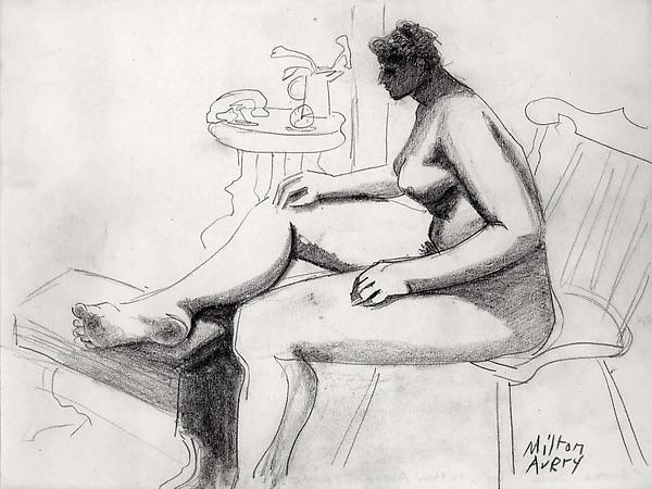 Seated Nude, c. 1938 Graphite Signed: Milton / Ave...