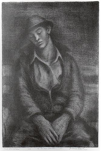 TIRED HITCHIKER, c. 1935Lithograph13 1/2 x 9 1