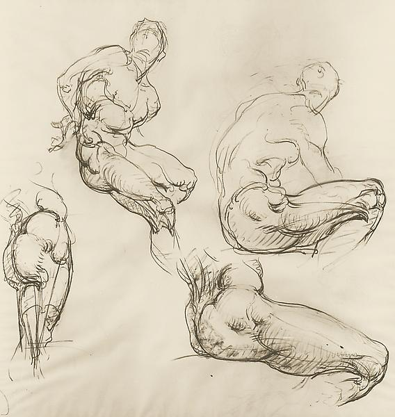 FIGURE STUDIES I, c. 1920 Charcoal 60 x 58 inches...