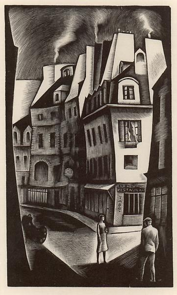 PARIS STREET, 1930 Wood engraving 6 x 3 3/4 inches...