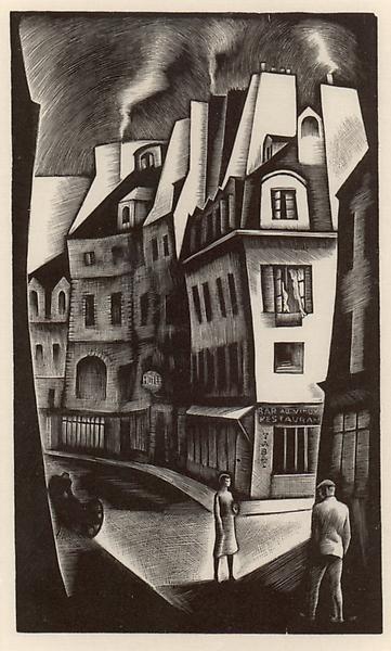 PARIS STREET, 1930 Wood engraving 6 x 3 3/4 inches...