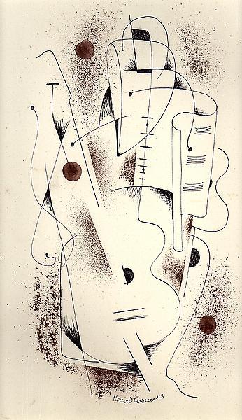CELLIST, 1948 Ink 14 x 9 3/8 inches Signed: Konrad...