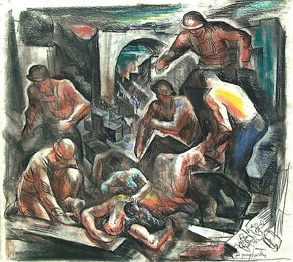 MURAL STUDY, c. 1935 Charcoal, crayon and pastel 1...