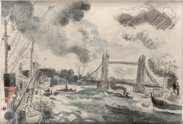 LONDON BRIDGE, c. 1930 Graphite and watercolor 9 x...