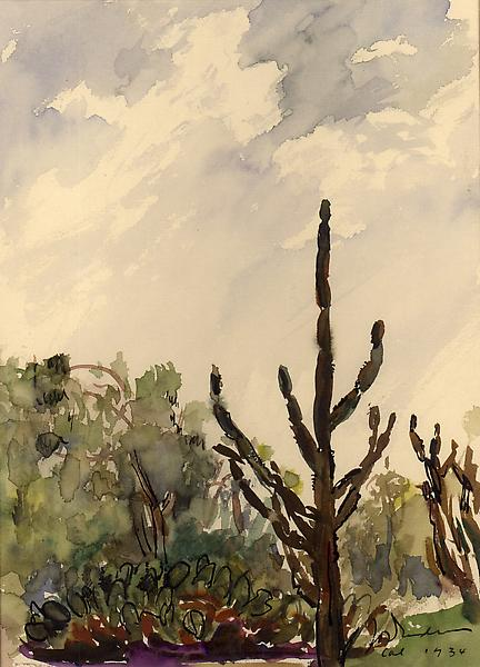 CALIFORNIA, 1934 Watercolor on paper 8 1/2 x 6 1/2...