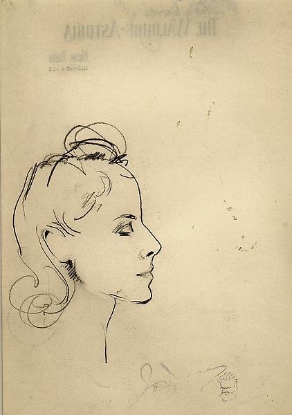 SKETCH OF CLAIRE BOOTH LUCE, c. 1939 Graphite on p...