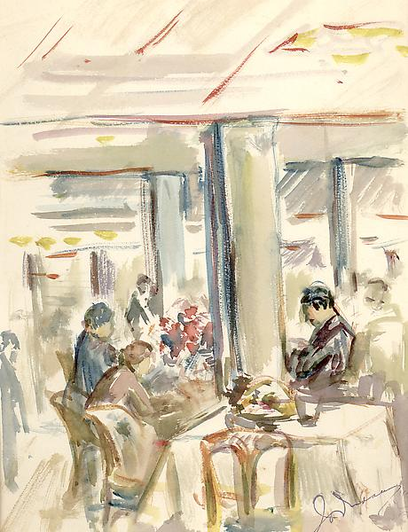 PARIS CAFE, c. 1934 Watercolor 9 3/4 x 7 1/2 inche...