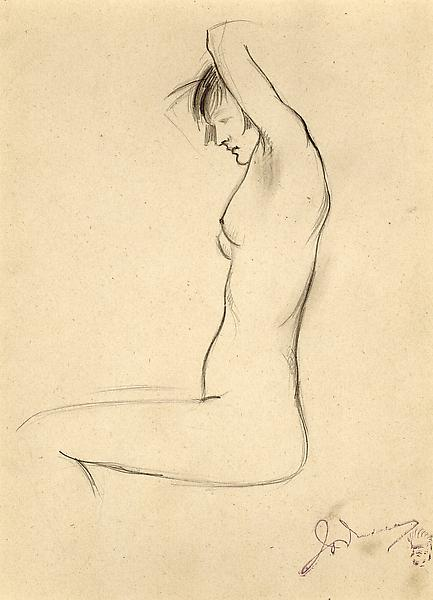 SEATED NUDE II, c. 1925 Graphite 12 1/4 x 9 inches...
