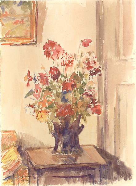 STILL LIFE, 1936 Watercolor 9 1/2 x 7 1/2 inches S...