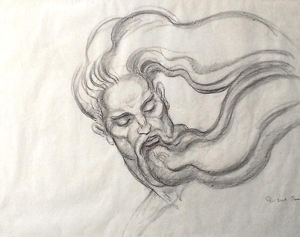 CELESTIAL HEAD (GOD), 1972 Crayon on paper 19 x 24...