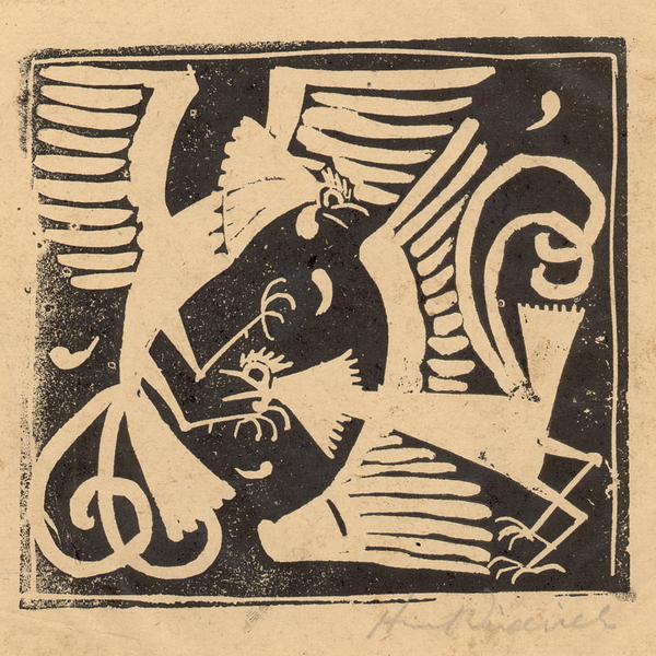 FIGHTING COCKS, c. 1917 Linoleum cut 4 1/4 x 4 5/8...