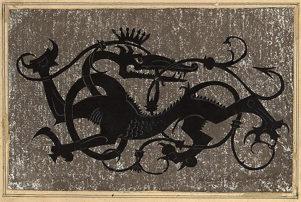 MYTHICAL SALAMANDER, c. 1925 Paper silhouette with...