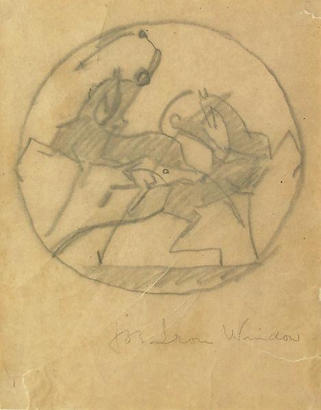 POLO PLAYERS (Design for window), c. 1920 Crayon o...