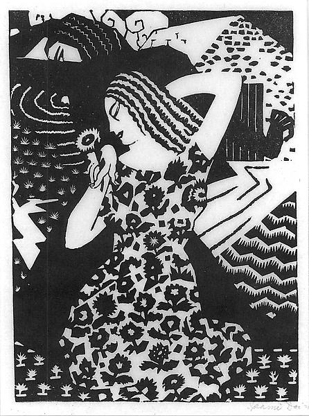 GOOD & EVIL, 1926 Linocut Signed: Isami Doi '2...
