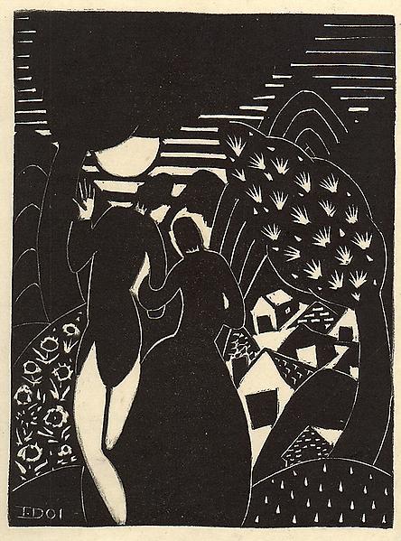 MOONLIGHT, 1924 Linocut Signed: I. Doi (in matrix...