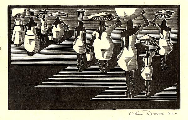 CARRYING WASH, ACAPULCO, 1932 Wood engraving on ri...