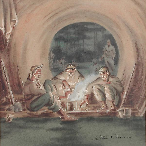 RANGERS COOKING RATIONS, 1945 Watercolor and ink o...