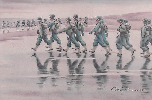 GOING DOWN THE BEACH, 1945 Watercolor and ink on p...