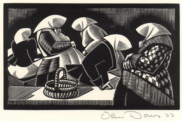 MARKET, RIGA, 1933 Wood engraving; matted 4 1/4 x...