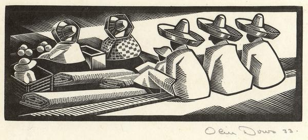MAT SELLERS, CHOLULA, 1933 Woodcut 3 5/8 x 9 1/8 i...