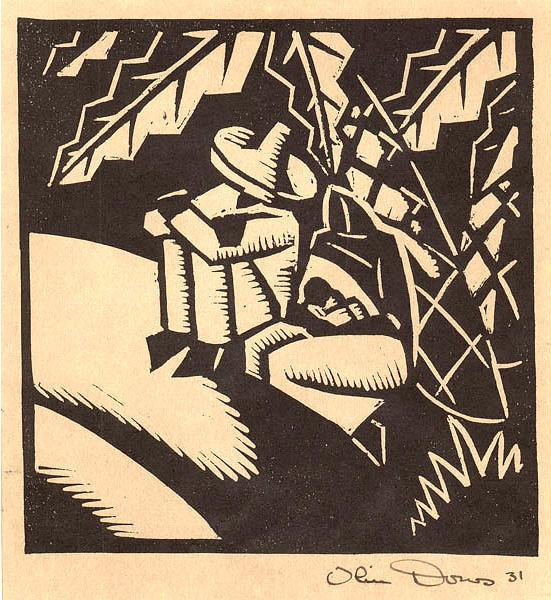 SIESTA, 1931 Woodcut 6 1/2 x 6 1/2 inches Signed:...