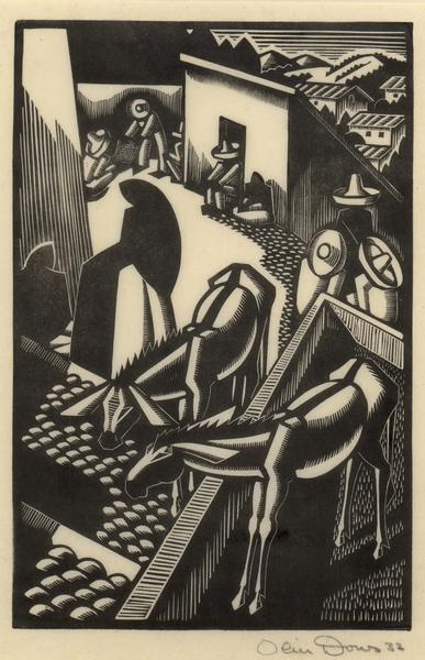 STREET SCENE, TAXCO, 1932 Wood engraving; matted 1...
