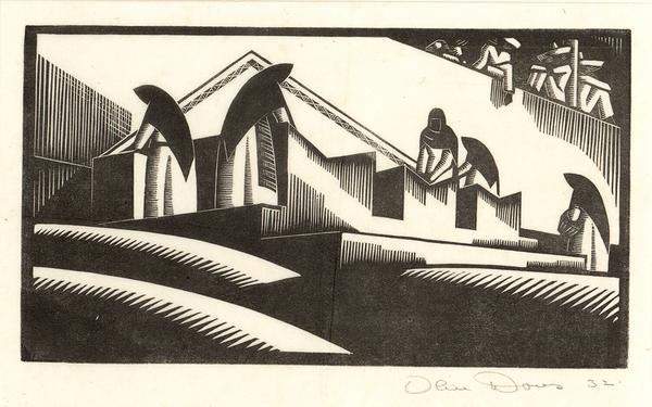 WASHING, TAXCO, 1932 Wood engraving; matted 4 x 7...