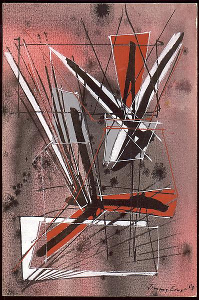 MINERAL, 1953 Gouache & ink on paper 7 1/4 x 5 inc...