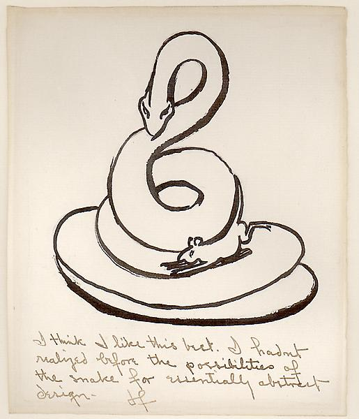 SNAKE, c. 1938 Ink 7 x 6 inches Signed: JF (ink l....