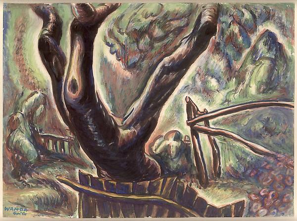 TREE IN THE GARDEN, c. 1927 Gouache 8 1/2 x 11 inc...