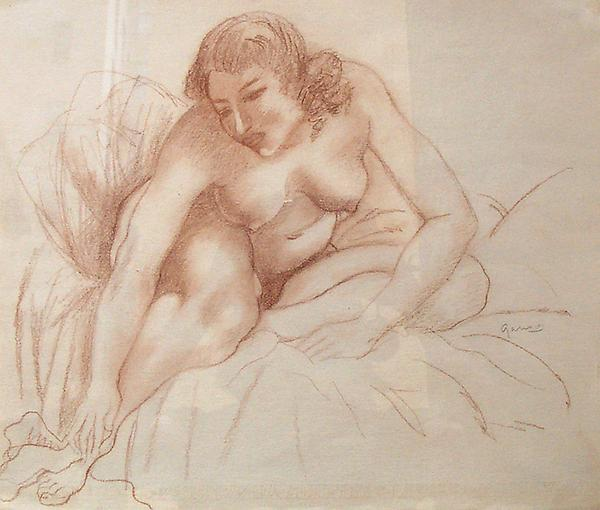 SEATED NUDE TOUCHING FOOT, c. 1935 Sepia crayon 12...