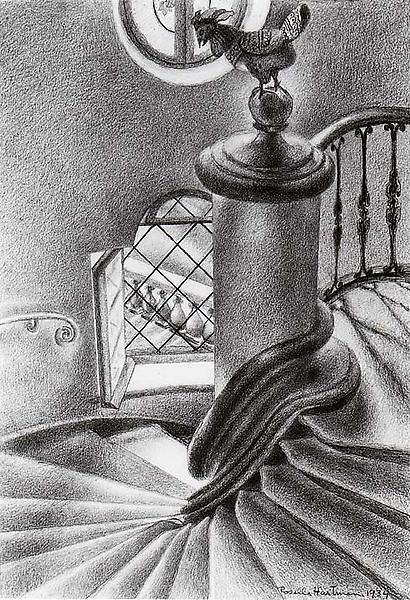 STAIRCASE, 1934 Charcoal on paper laid down 20 x 1...