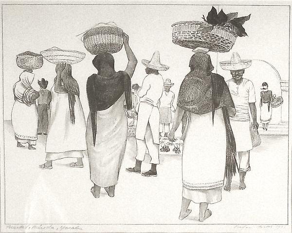 MARKET NEDRIDA, YUCATAN, 1931 Lithograph 9 1/4 x 1...