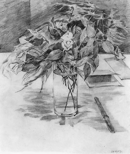 ROSES IN A VASE, 1919 Graphite 12 1/4 x 10 inches...