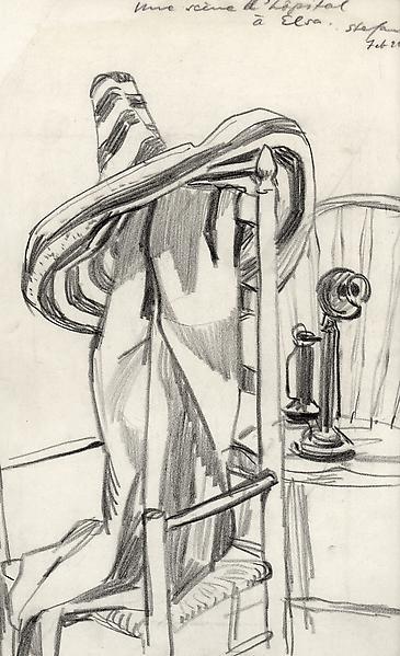 STILL LIFE WITH SOMBRERO, 1928 Crayon 14 x 9 1/2 i...