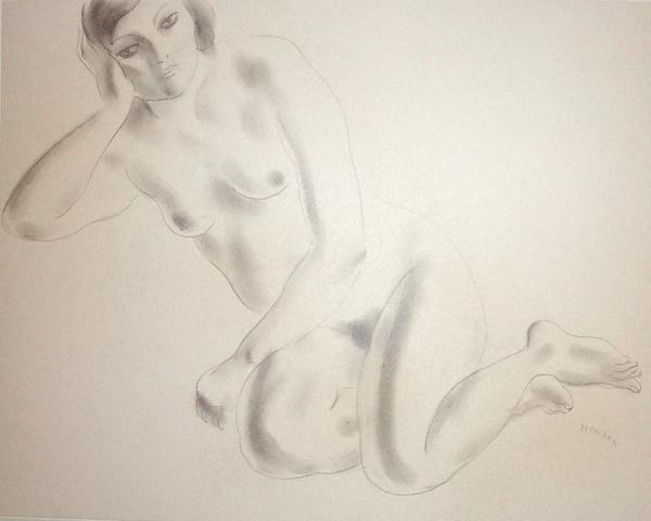 RECLINING FEMALE NUDE, c. 1935 Graphite on paper;&...