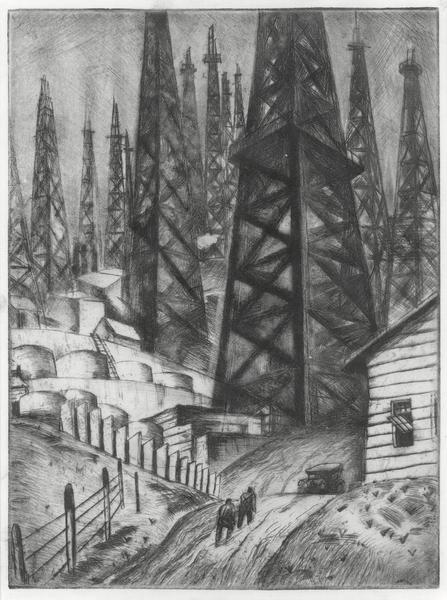 OIL FIELD, c. 1935 Etching 9 x 6 3/4 inches Signed...
