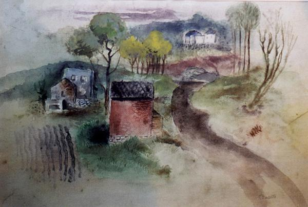 COUNTRY ROAD, c. 1935 Watercolor, ink on rice pape...