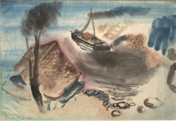 FISHING BOAT, c. 1935 Watercolor 11 x 15 3/4 inche...