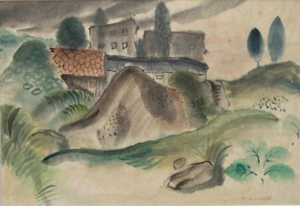 LANDSCAPE WITH HOUSES, c. 1935 Ink and watercolor...