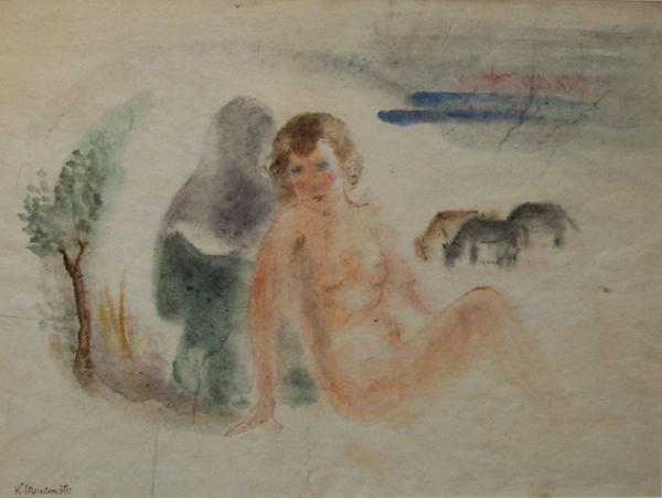 FEMALE NUDE IN A LANDSCAPE, c. 1935 Watercolor 15...