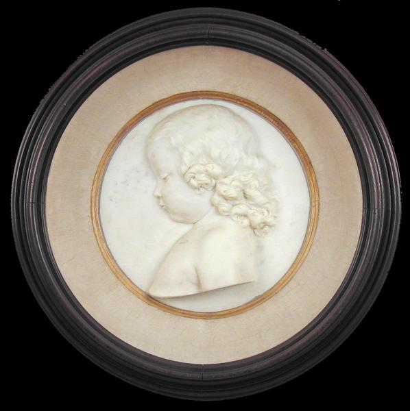 PORTRAIT OF A YOUNG GIRL, c. 1865 Marble roundel i...