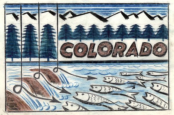 COLORADO FISHING #1, c. 1933 Colored pencil, graph...